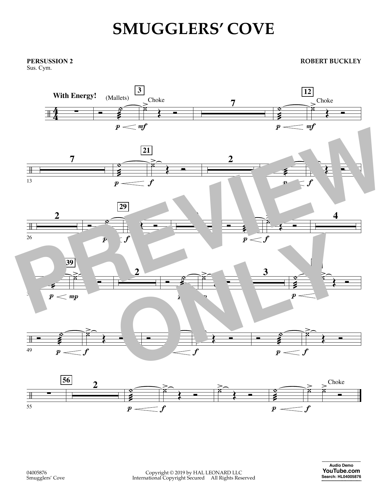 Robert Buckley Smugglers' Cove - Percussion 2 sheet music preview music notes and score for Concert Band including 1 page(s)