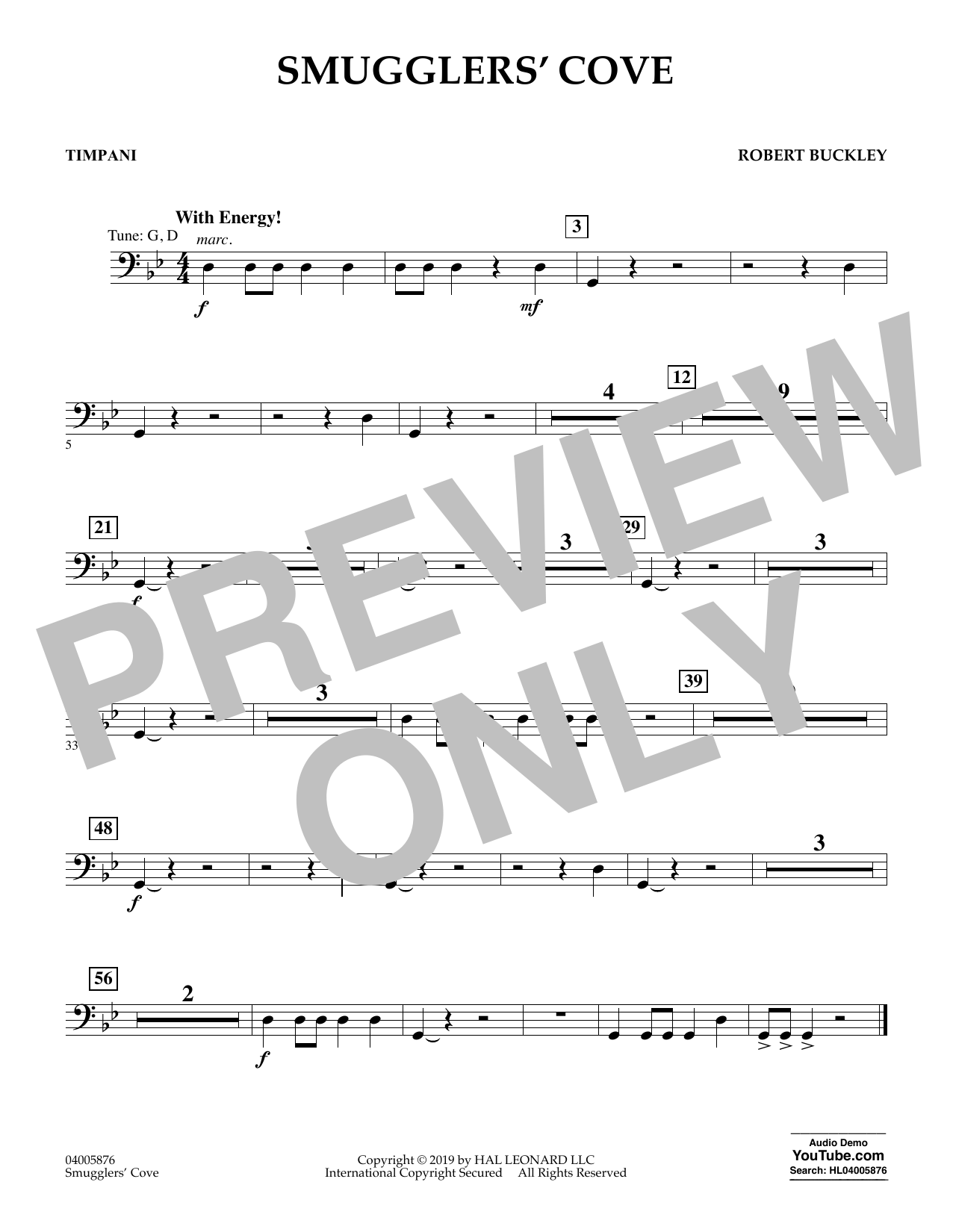 Robert Buckley Smugglers' Cove - Timpani sheet music preview music notes and score for Concert Band including 1 page(s)