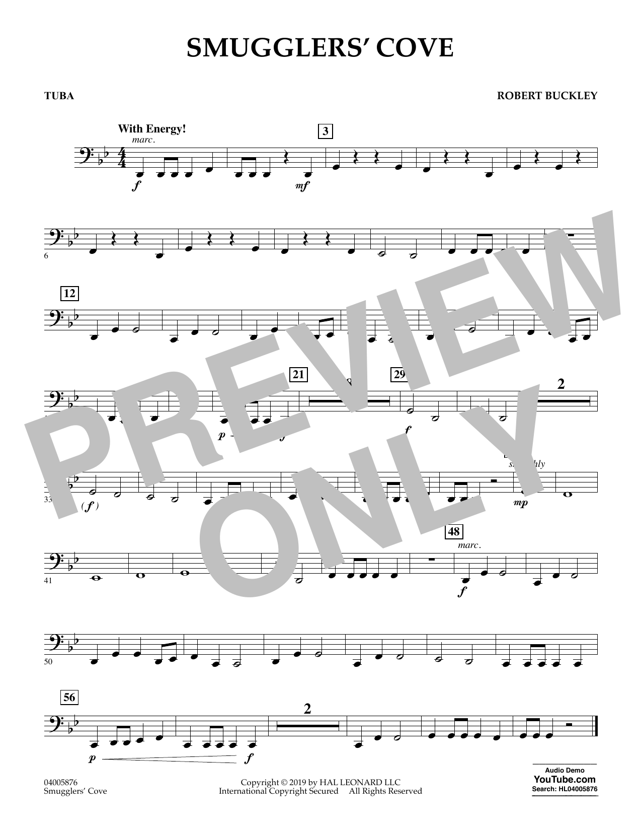 Robert Buckley Smugglers' Cove - Tuba sheet music preview music notes and score for Concert Band including 1 page(s)