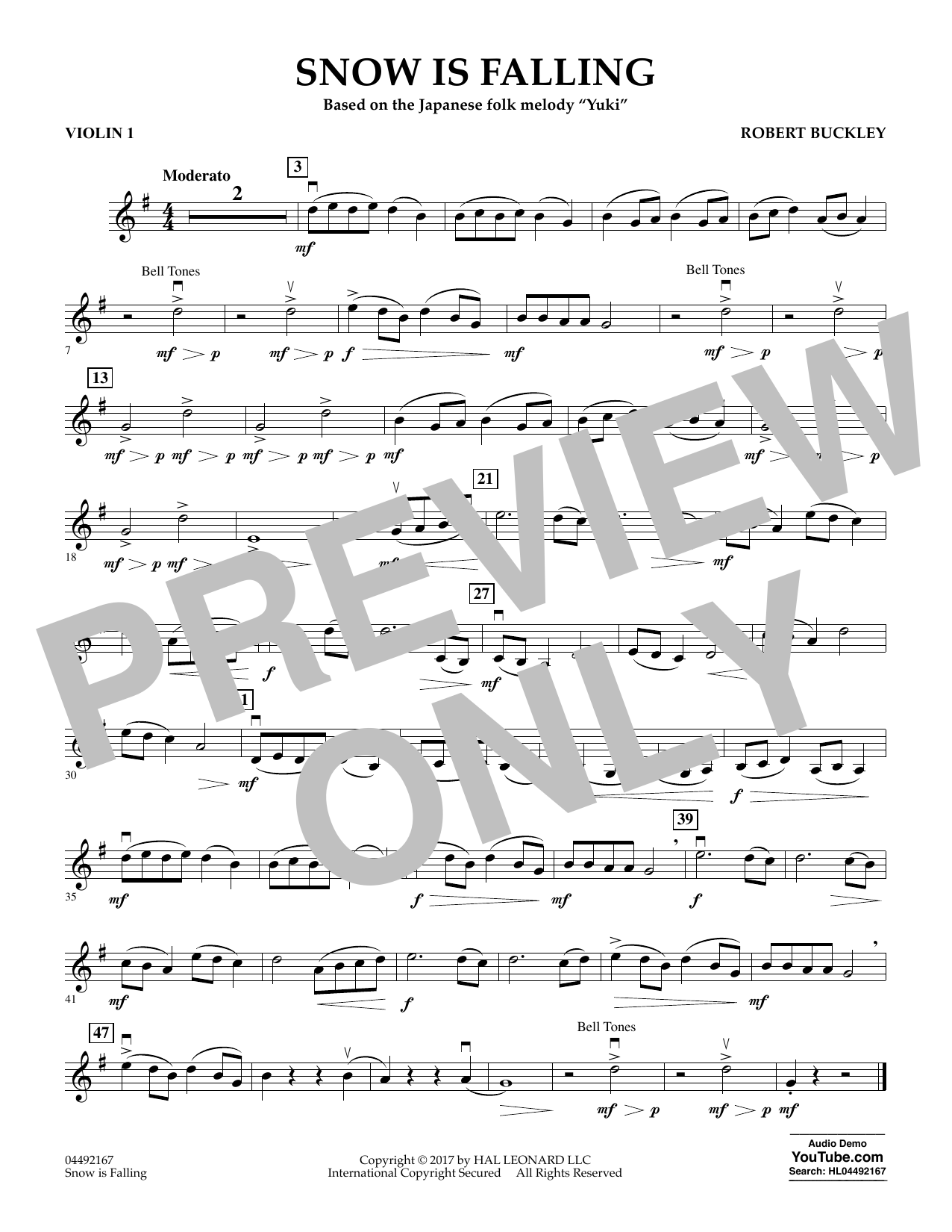 Download Robert Buckley 'Snow Is Falling - Violin 1' Digital Sheet Music Notes & Chords and start playing in minutes