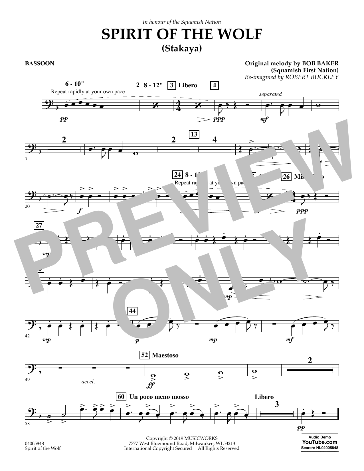 Robert Buckley Spirit of the Wolf (Stakaya) - Bassoon sheet music preview music notes and score for Concert Band including 1 page(s)