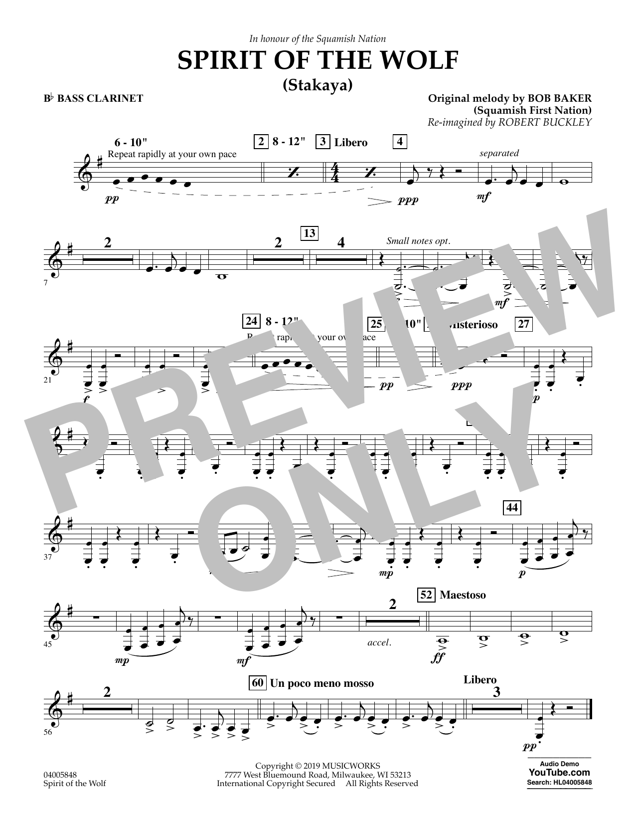 Robert Buckley Spirit of the Wolf (Stakaya) - Bb Bass Clarinet sheet music preview music notes and score for Concert Band including 1 page(s)