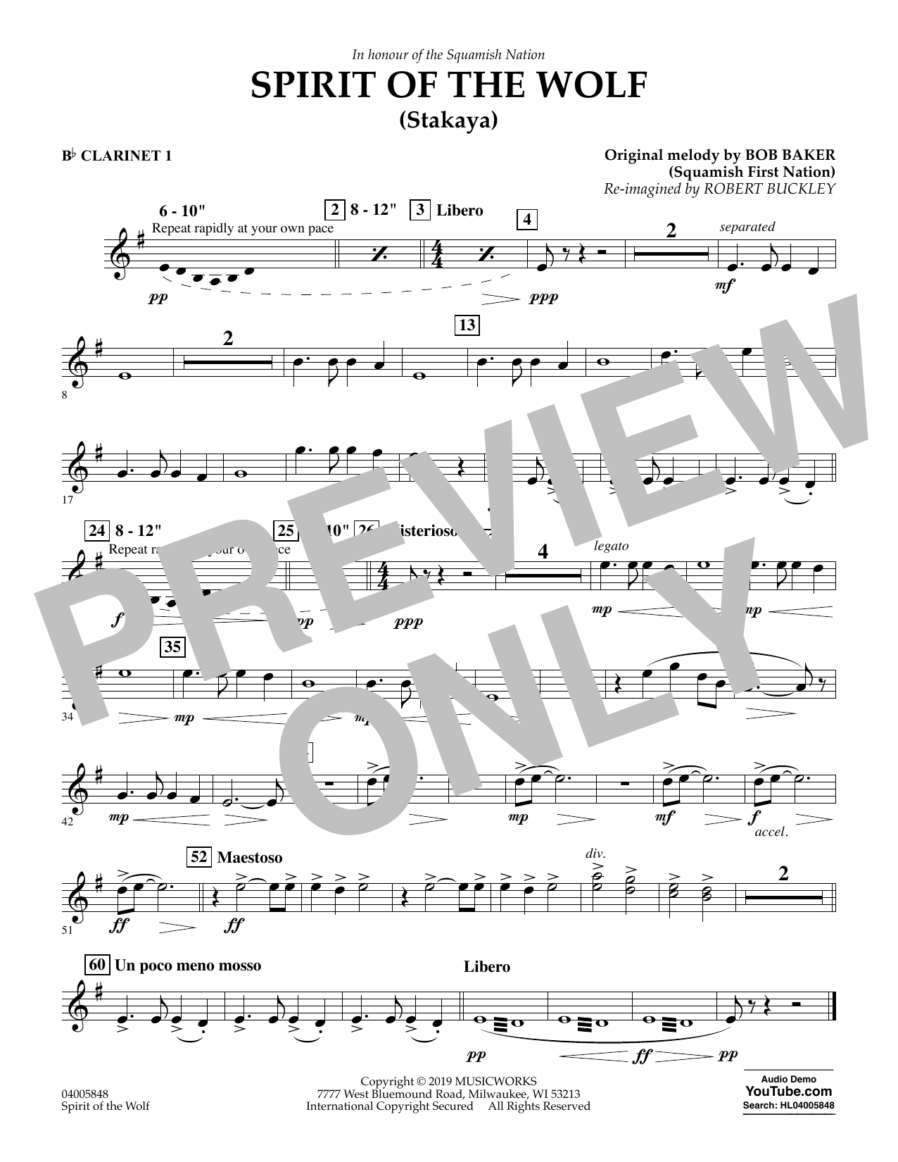 Robert Buckley Spirit of the Wolf (Stakaya) - Bb Clarinet 1 sheet music preview music notes and score for Concert Band including 1 page(s)