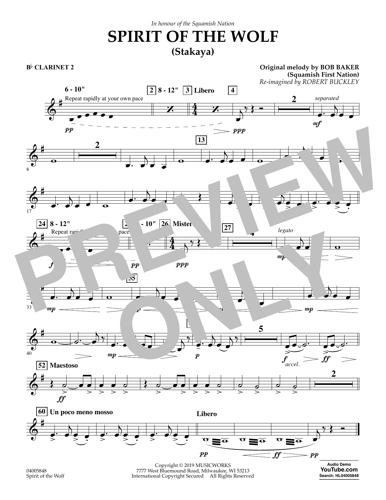 Robert Buckley Spirit of the Wolf (Stakaya) - Bb Clarinet 2 sheet music preview music notes and score for Concert Band including 1 page(s)