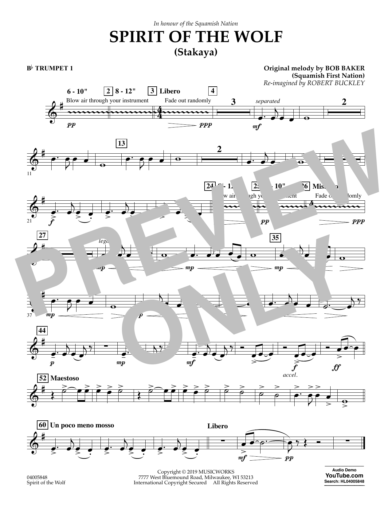 Robert Buckley Spirit of the Wolf (Stakaya) - Bb Trumpet 1 sheet music preview music notes and score for Concert Band including 1 page(s)