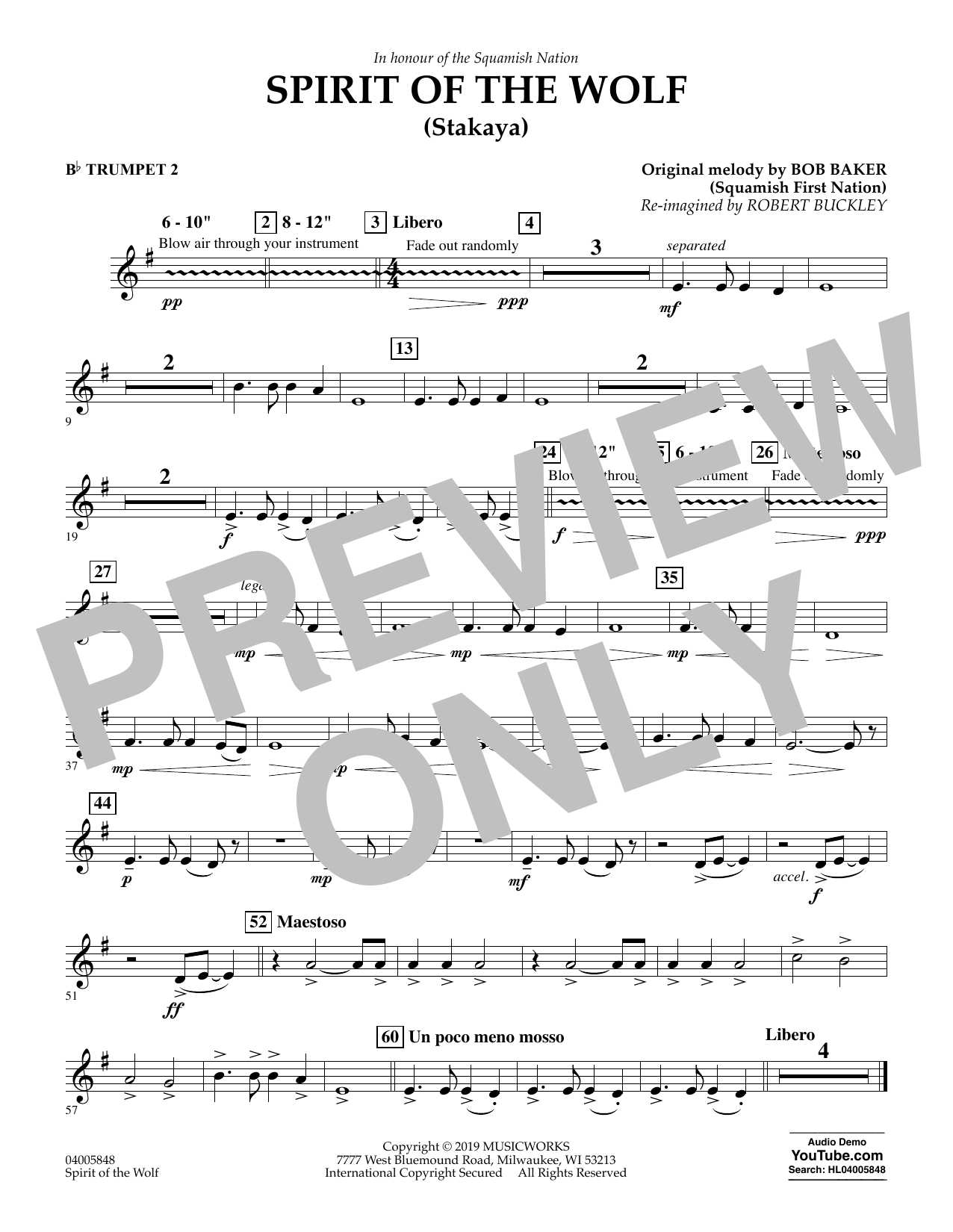 Robert Buckley Spirit of the Wolf (Stakaya) - Bb Trumpet 2 sheet music preview music notes and score for Concert Band including 1 page(s)