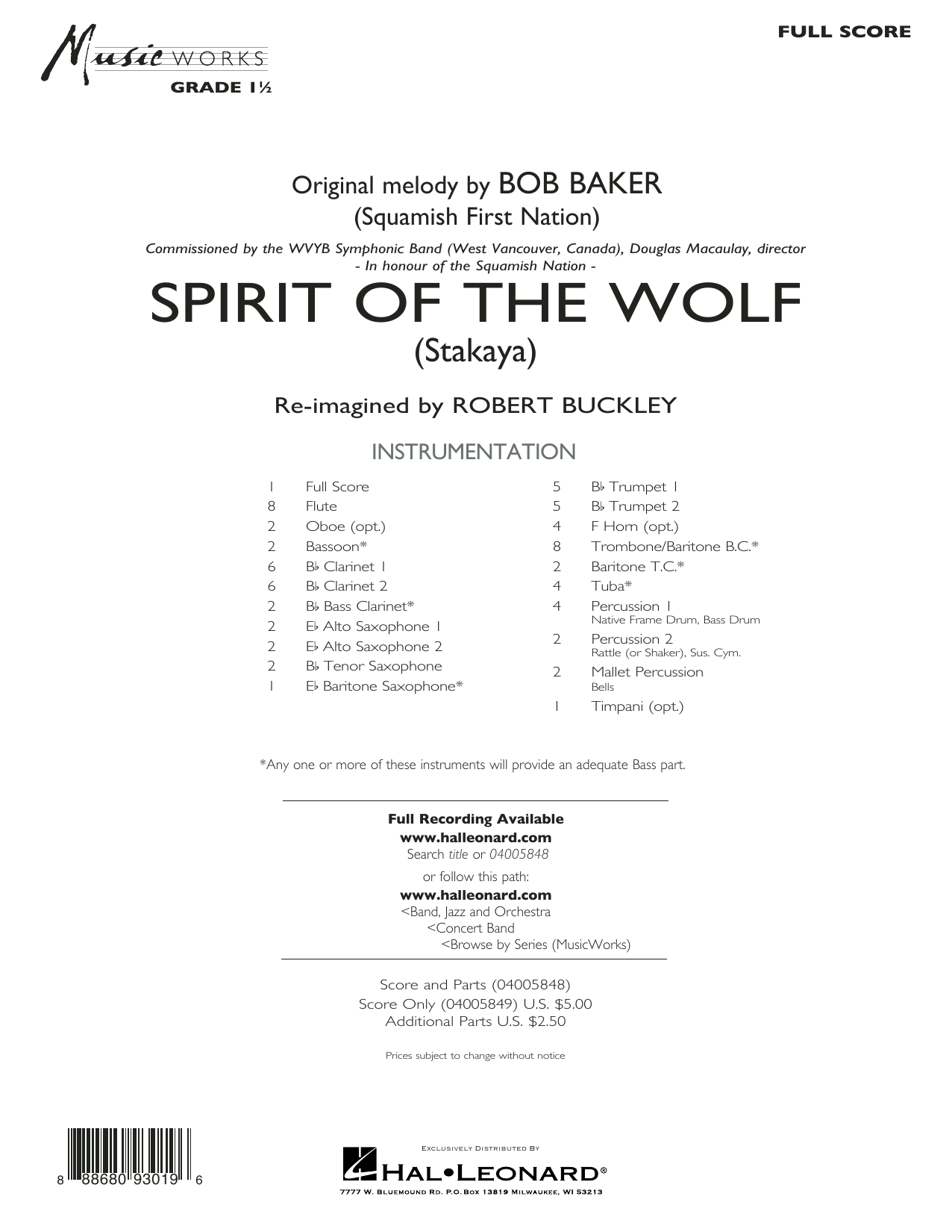Robert Buckley Spirit of the Wolf (Stakaya) - Conductor Score (Full Score) sheet music preview music notes and score for Concert Band including 11 page(s)