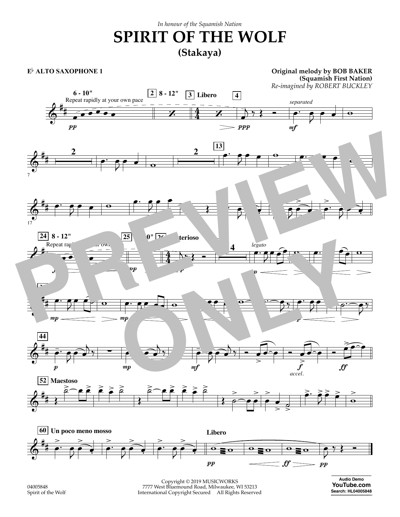 Robert Buckley Spirit of the Wolf (Stakaya) - Eb Alto Saxophone 1 sheet music preview music notes and score for Concert Band including 1 page(s)