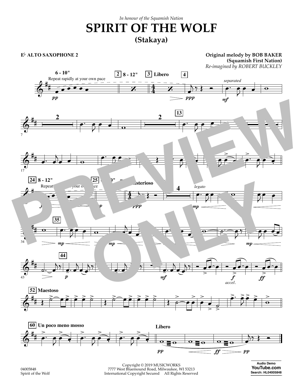 Robert Buckley Spirit of the Wolf (Stakaya) - Eb Alto Saxophone 2 sheet music preview music notes and score for Concert Band including 1 page(s)