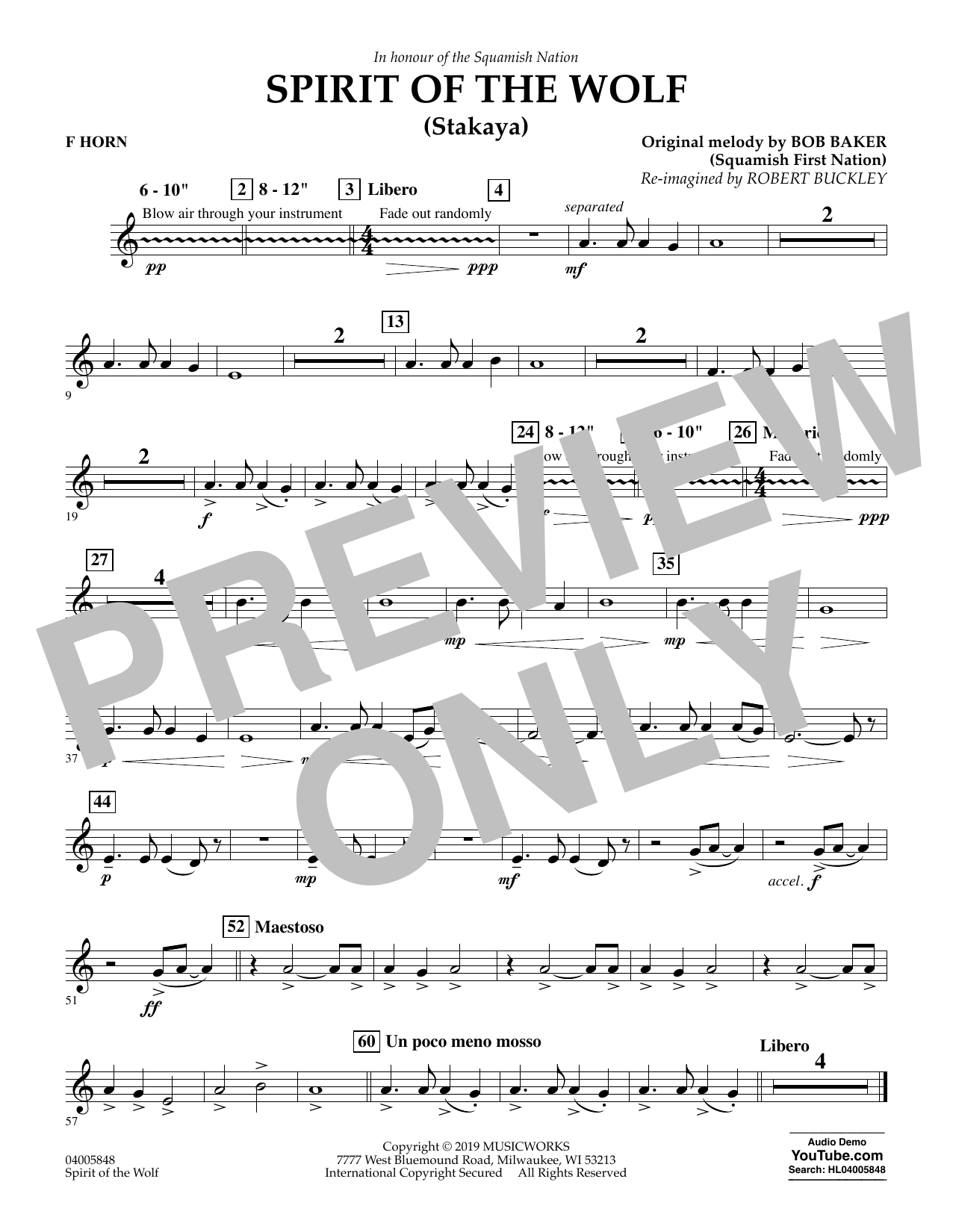 Robert Buckley Spirit of the Wolf (Stakaya) - F Horn sheet music preview music notes and score for Concert Band including 1 page(s)