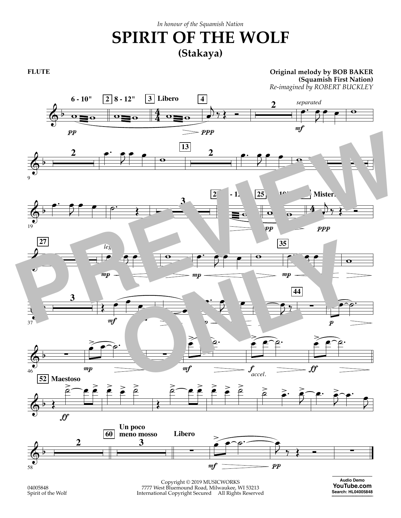 Robert Buckley Spirit of the Wolf (Stakaya) - Flute sheet music preview music notes and score for Concert Band including 1 page(s)