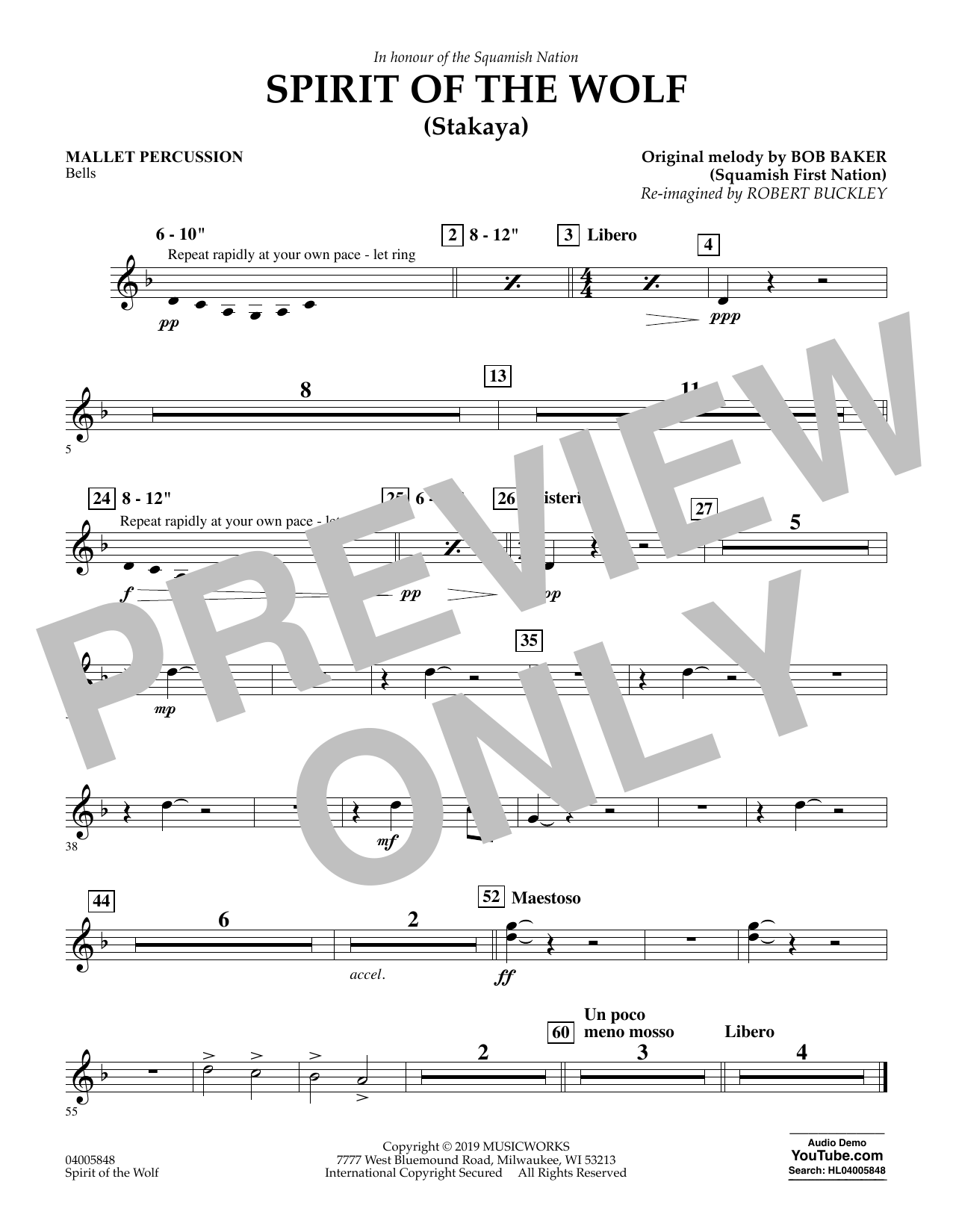 Robert Buckley Spirit of the Wolf (Stakaya) - Mallet Percussion sheet music preview music notes and score for Concert Band including 1 page(s)