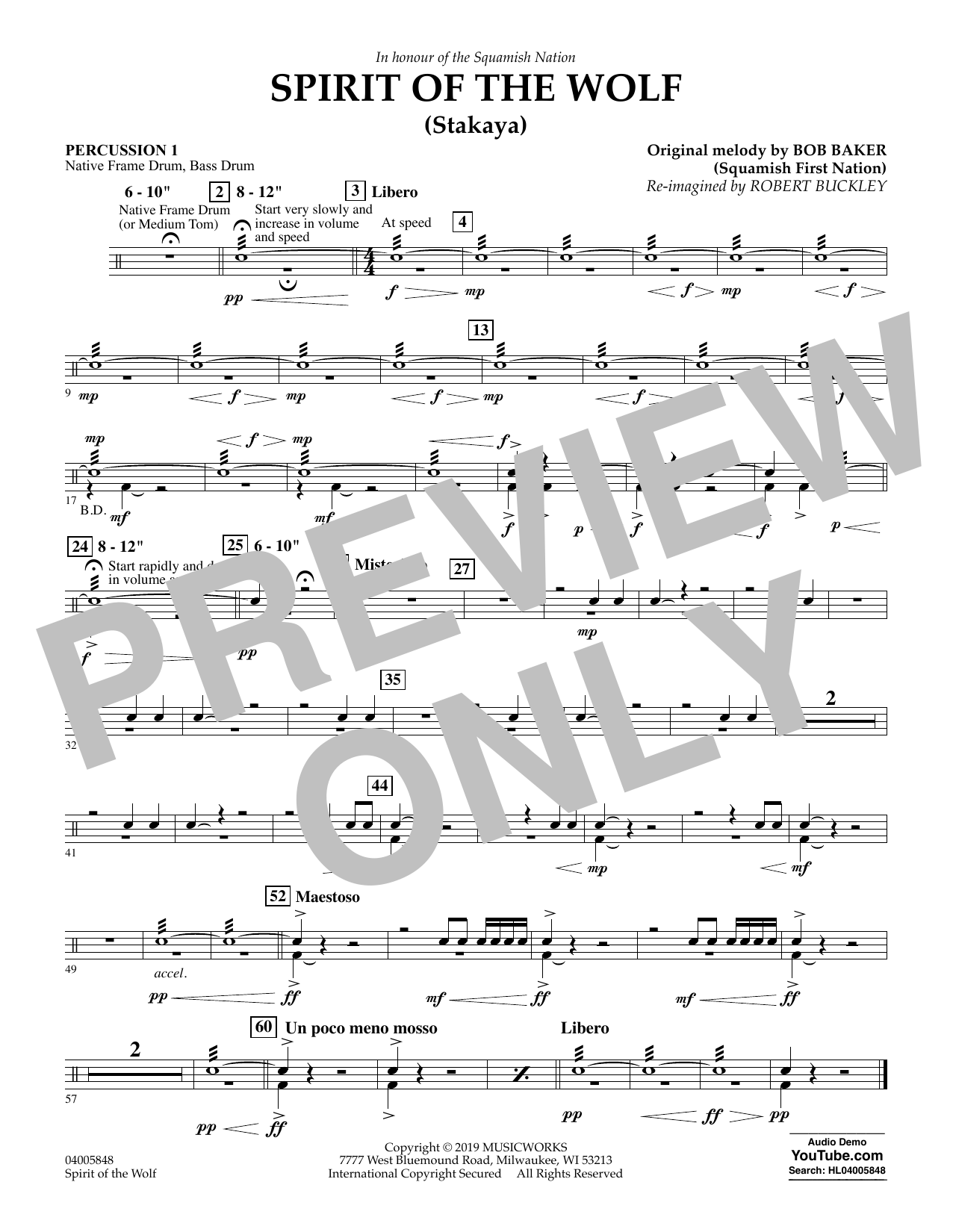 Robert Buckley Spirit of the Wolf (Stakaya) - Percussion 1 sheet music preview music notes and score for Concert Band including 1 page(s)