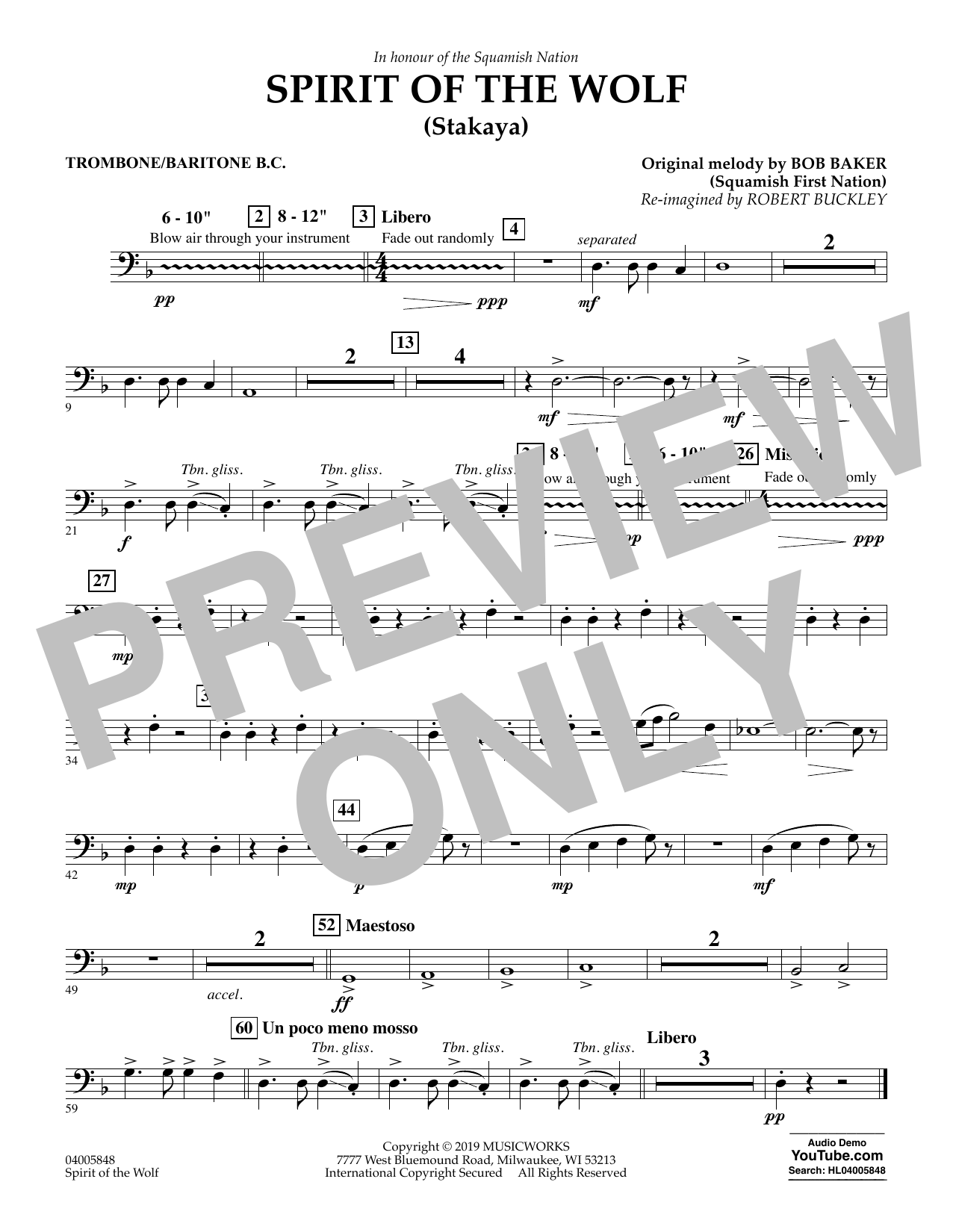 Robert Buckley Spirit of the Wolf (Stakaya) - Trombone/Baritone B.C. sheet music preview music notes and score for Concert Band including 1 page(s)