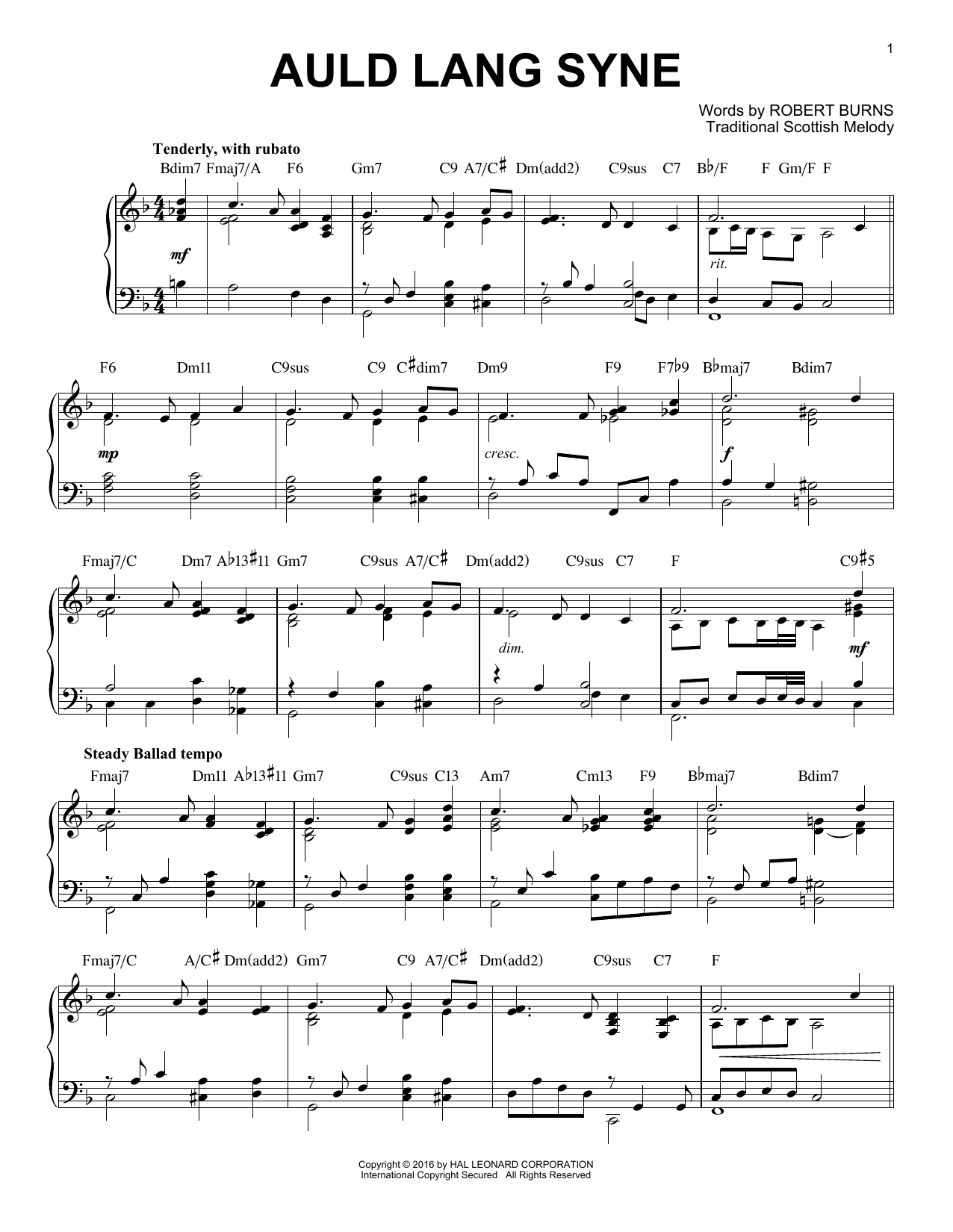 Download Robert Burns 'Auld Lang Syne' Digital Sheet Music Notes & Chords and start playing in minutes