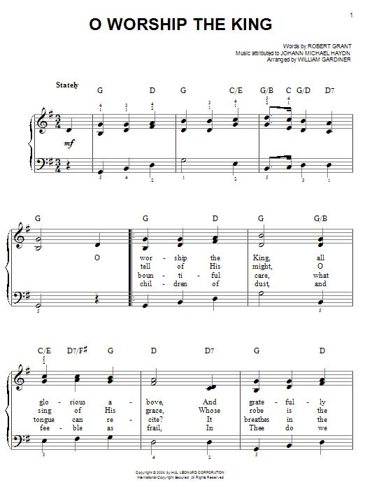 Robert Grant O Worship The King sheet music notes and chords