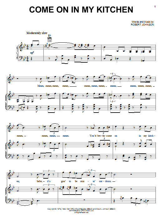Robert Johnson Come On In My Kitchen sheet music preview music notes and score for Guitar Tab including 3 page(s)