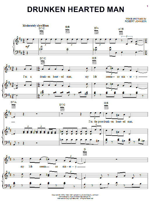 Robert Johnson Drunken Hearted Man sheet music notes and chords