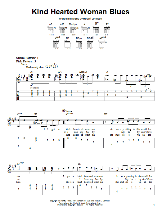 Robert Johnson Kind Hearted Woman Blues sheet music preview music notes and score for Easy Guitar Tab including 3 page(s)