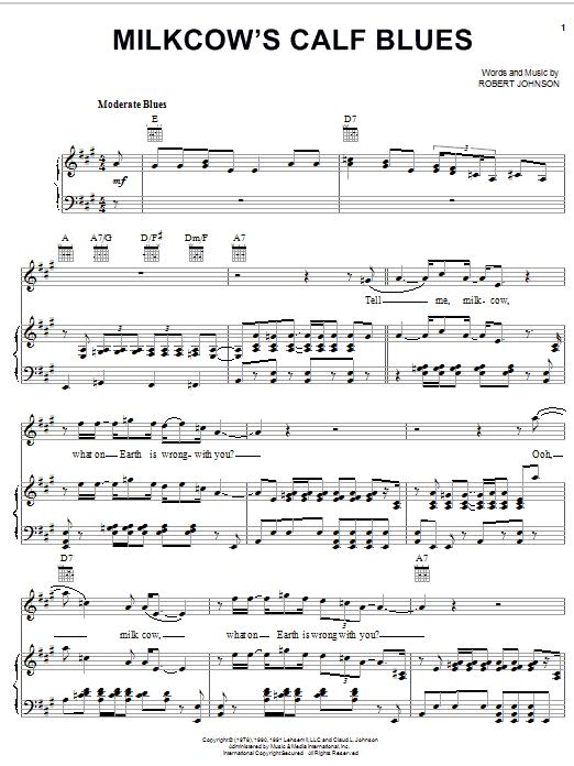 Robert Johnson Milkcow's Calf Blues sheet music notes and chords