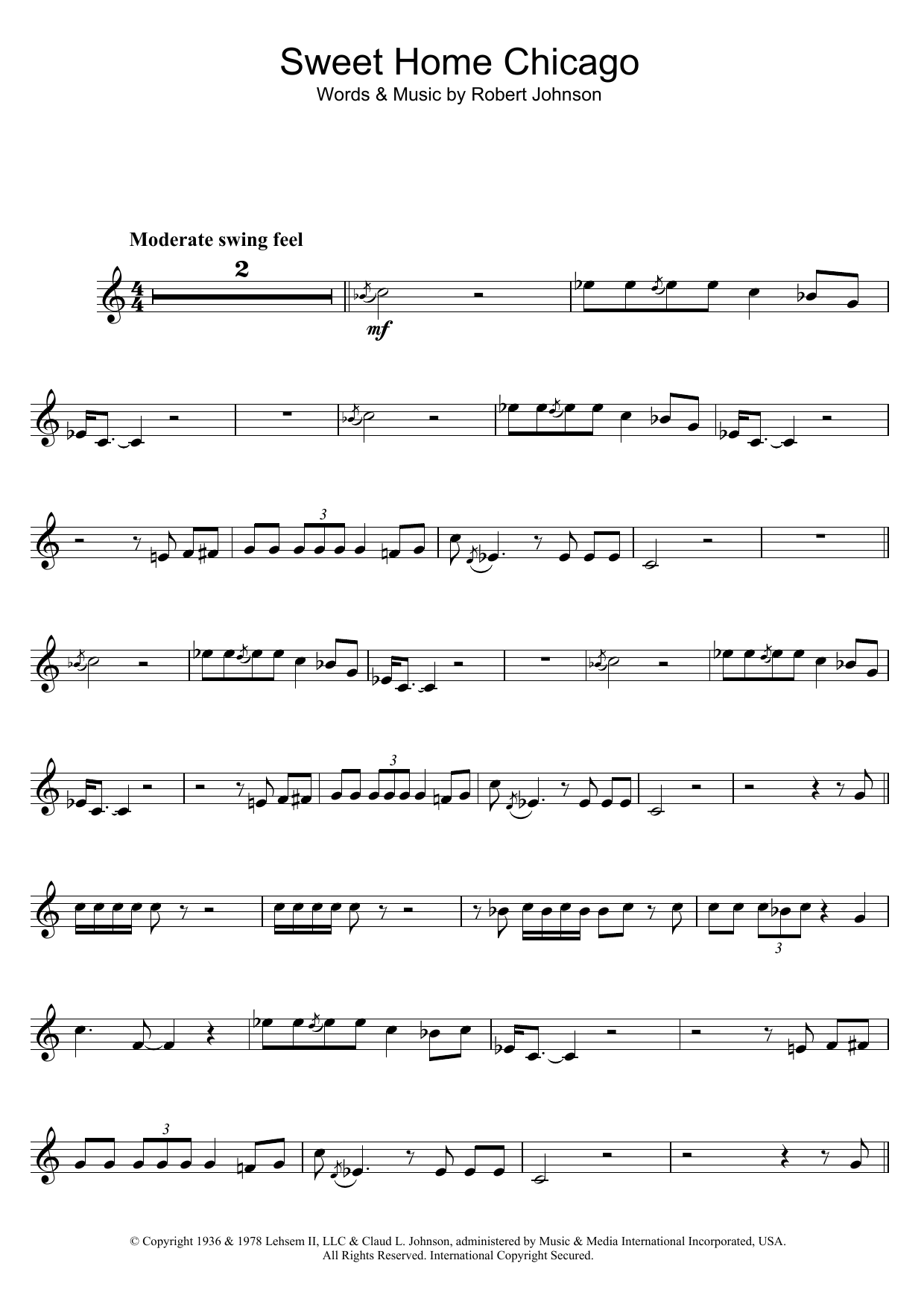 Robert Johnson Sweet Home Chicago sheet music preview music notes and score for Guitar Tab including 6 page(s)