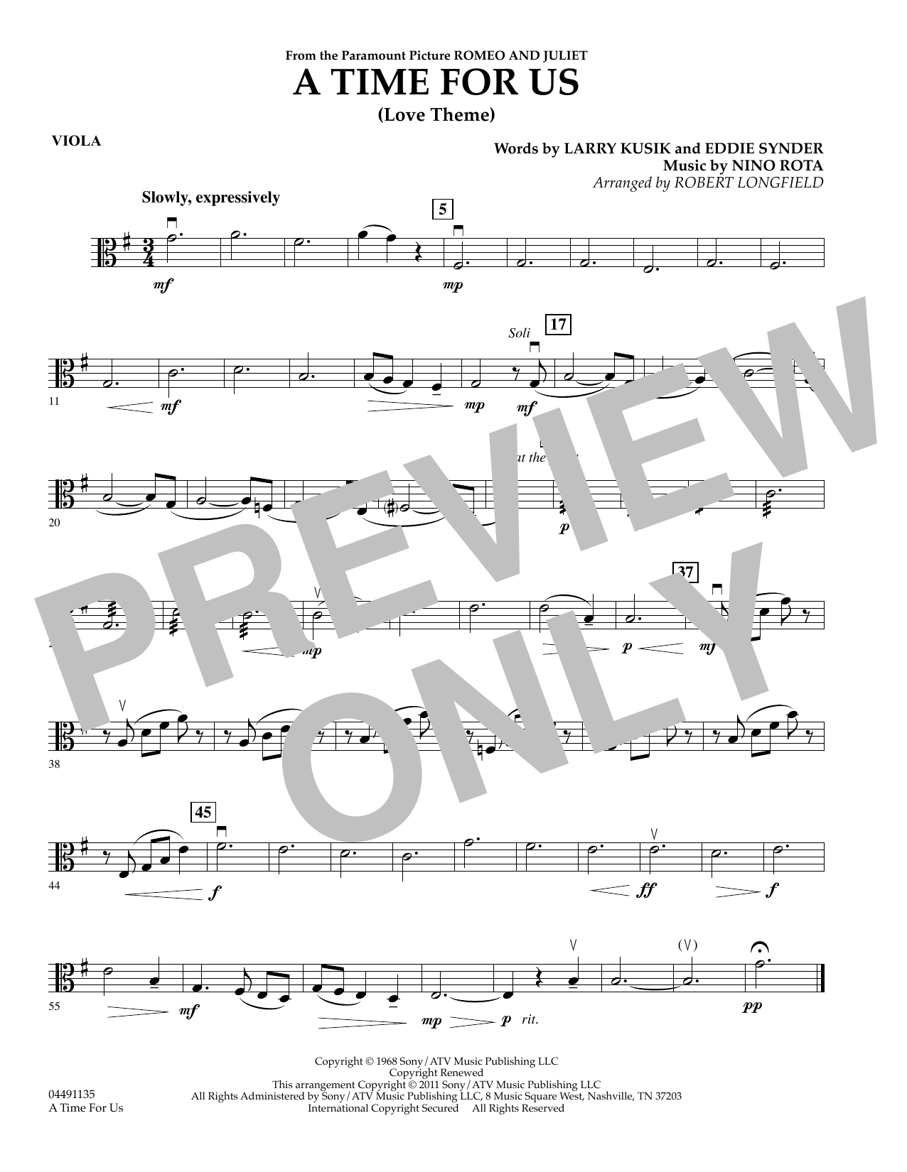 Robert Longfield A Time for Us (from Romeo and Juliet) - Viola sheet music preview music notes and score for String Quartet including 1 page(s)