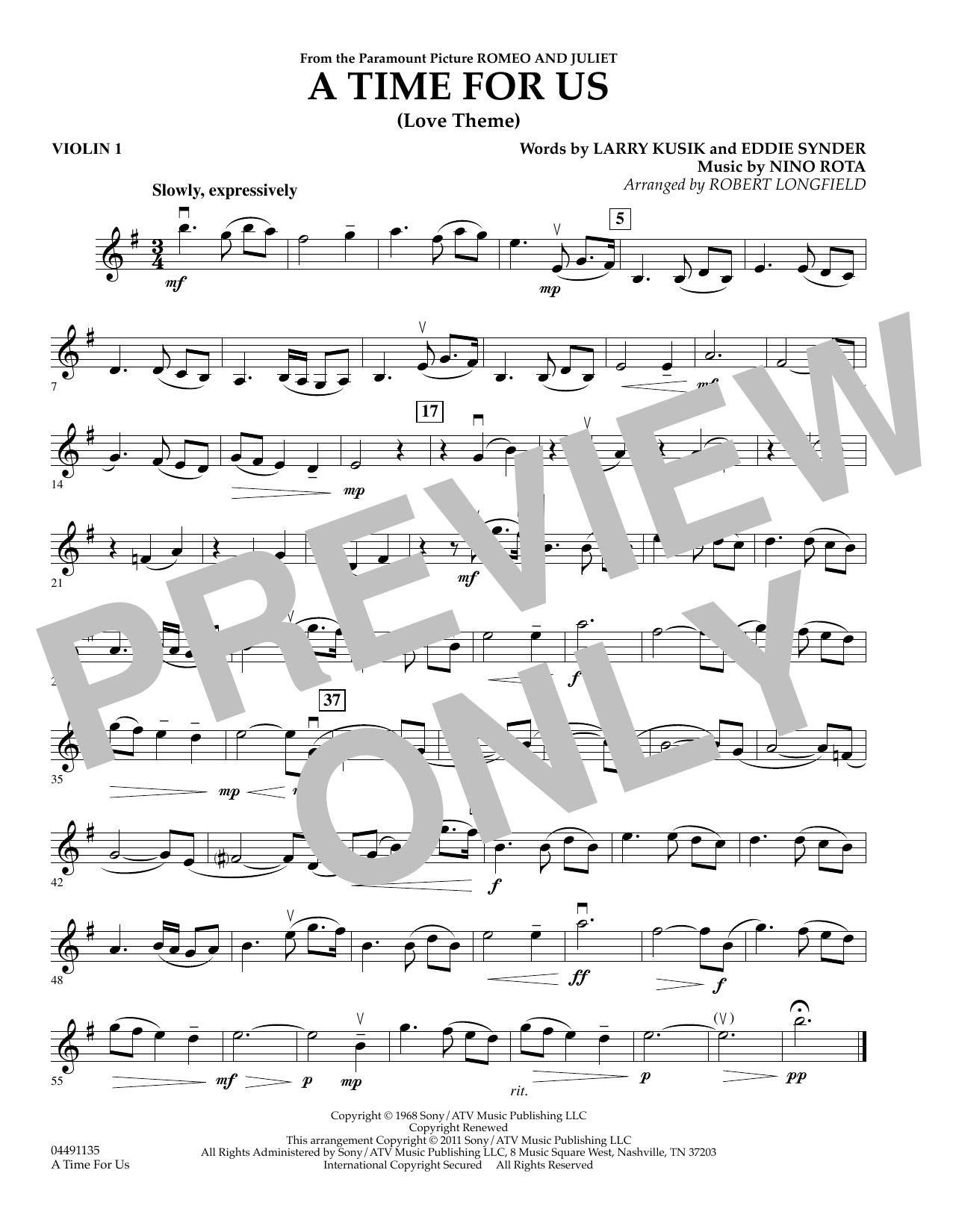 Robert Longfield A Time for Us (from Romeo and Juliet) - Violin 1 sheet music preview music notes and score for String Quartet including 1 page(s)