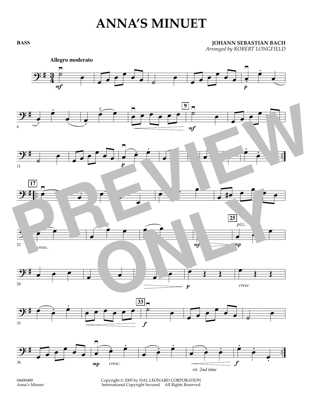Robert Longfield Anna's Minuet - Bass sheet music preview music notes and score for Orchestra including 1 page(s)