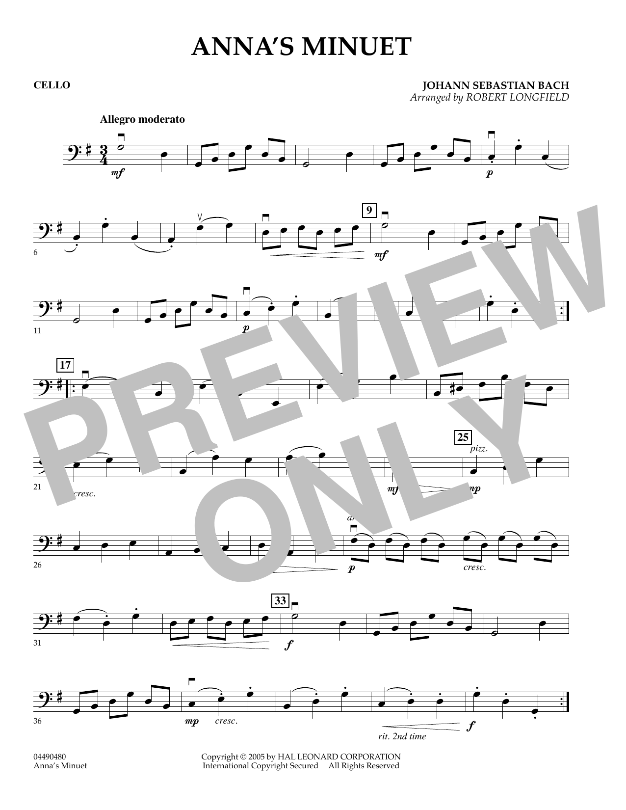 Robert Longfield Anna's Minuet - Cello sheet music preview music notes and score for Orchestra including 1 page(s)