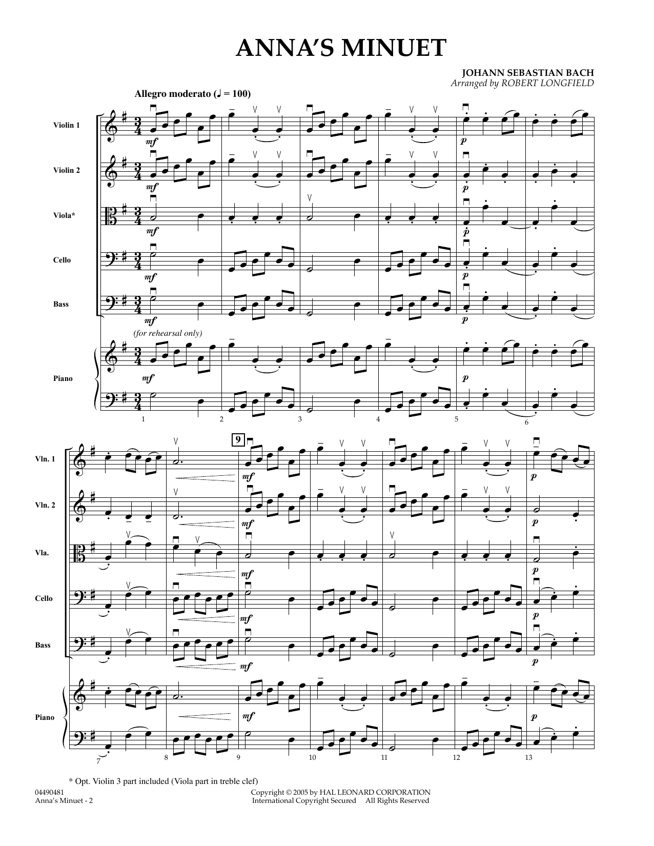 Robert Longfield Anna's Minuet - Conductor Score (Full Score) sheet music preview music notes and score for Orchestra including 3 page(s)