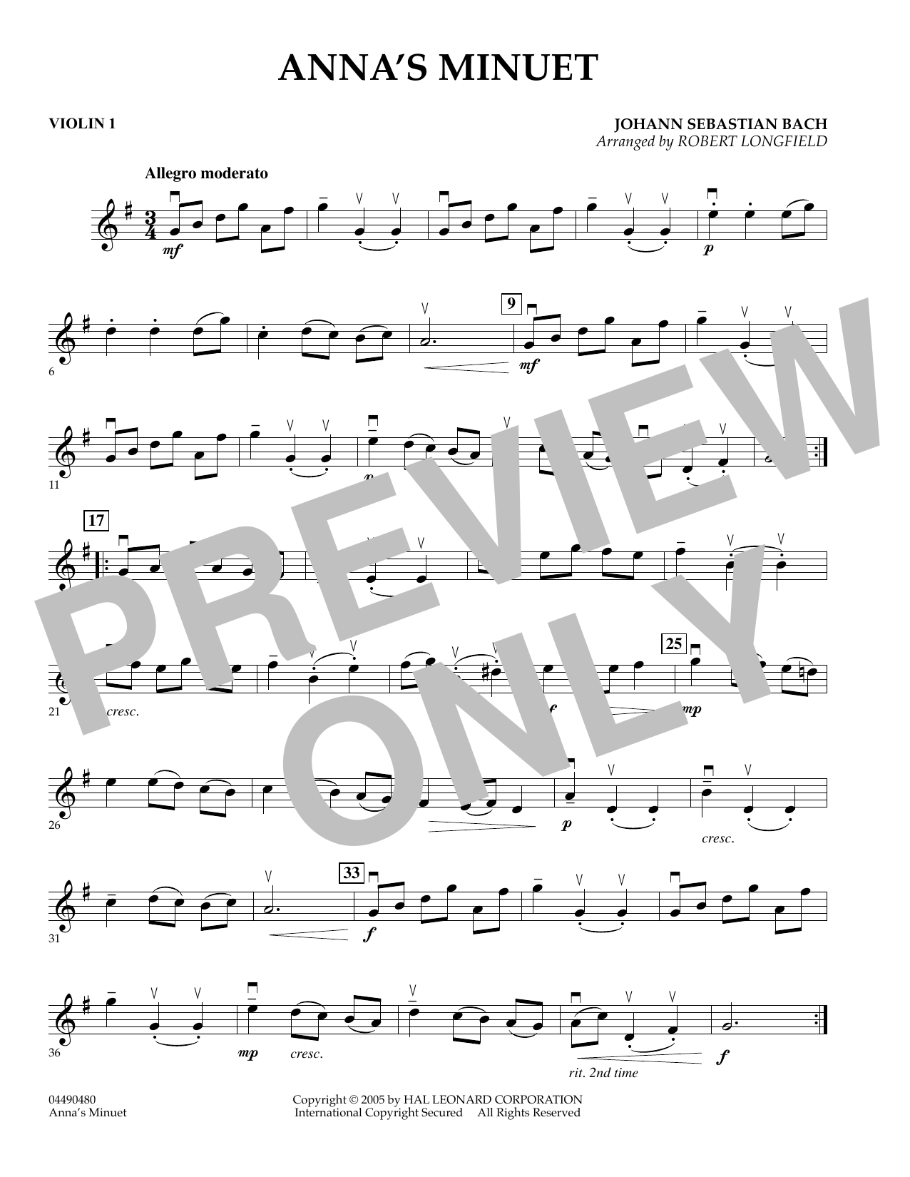 Robert Longfield Anna's Minuet - Violin 1 sheet music preview music notes and score for Orchestra including 1 page(s)