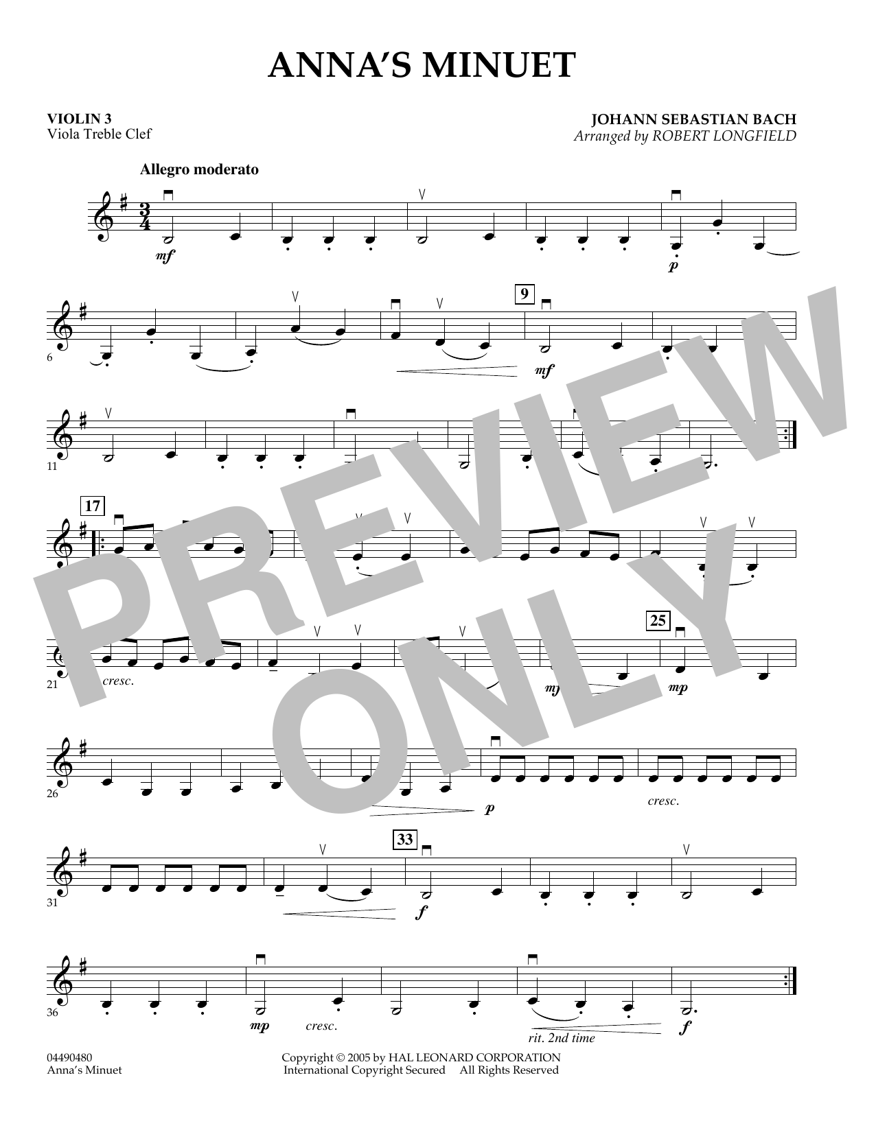 Robert Longfield Anna's Minuet - Violin 3 (Viola Treble Clef) sheet music preview music notes and score for Orchestra including 1 page(s)