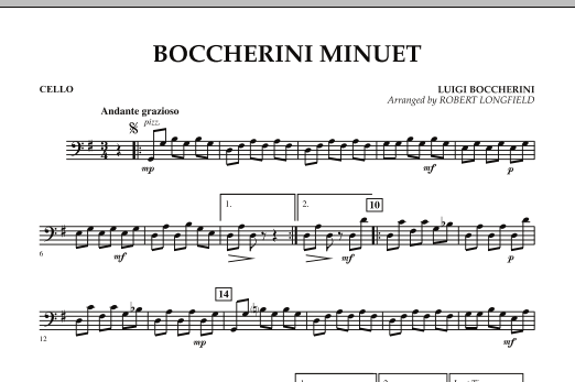 Robert Longfield Boccherini Minuet - Cello sheet music preview music notes and score for String Quartet including 1 page(s)
