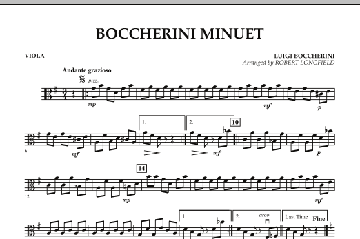Robert Longfield Boccherini Minuet - Viola sheet music preview music notes and score for String Quartet including 1 page(s)