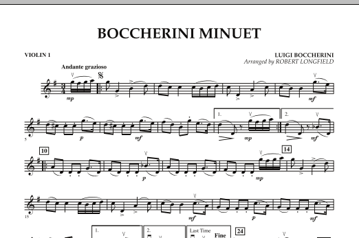 Robert Longfield Boccherini Minuet - Violin 1 sheet music preview music notes and score for String Quartet including 1 page(s)