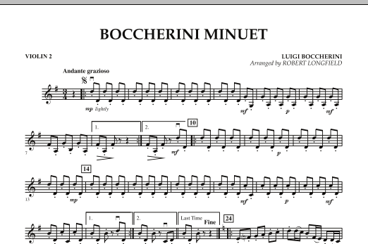 Robert Longfield Boccherini Minuet - Violin 2 sheet music preview music notes and score for String Quartet including 1 page(s)
