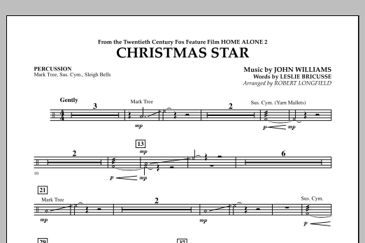 Robert Longfield Christmas Star (from Home Alone 2: Lost in New York) - Percussion sheet music notes and chords