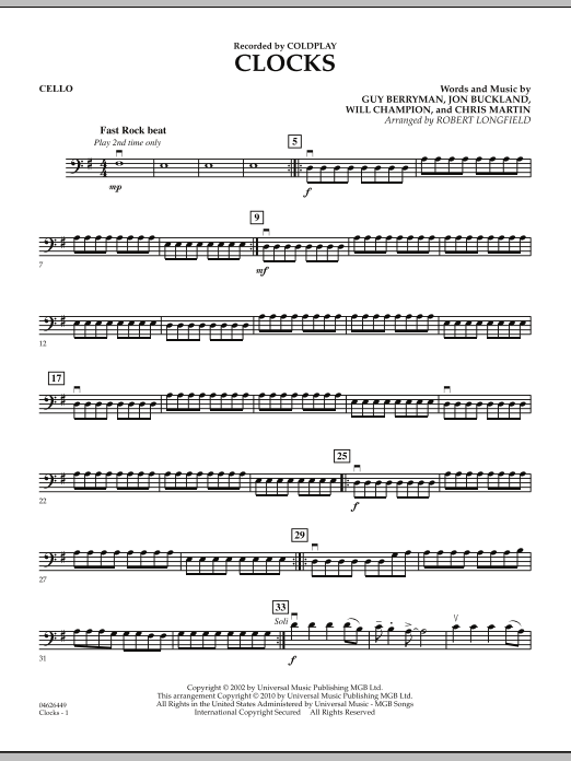Robert Longfield Clocks - Cello sheet music preview music notes and score for String Quartet including 2 page(s)