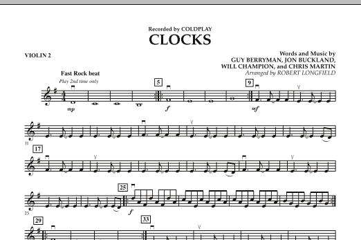 Robert Longfield Clocks - Violin 2 sheet music preview music notes and score for String Quartet including 1 page(s)