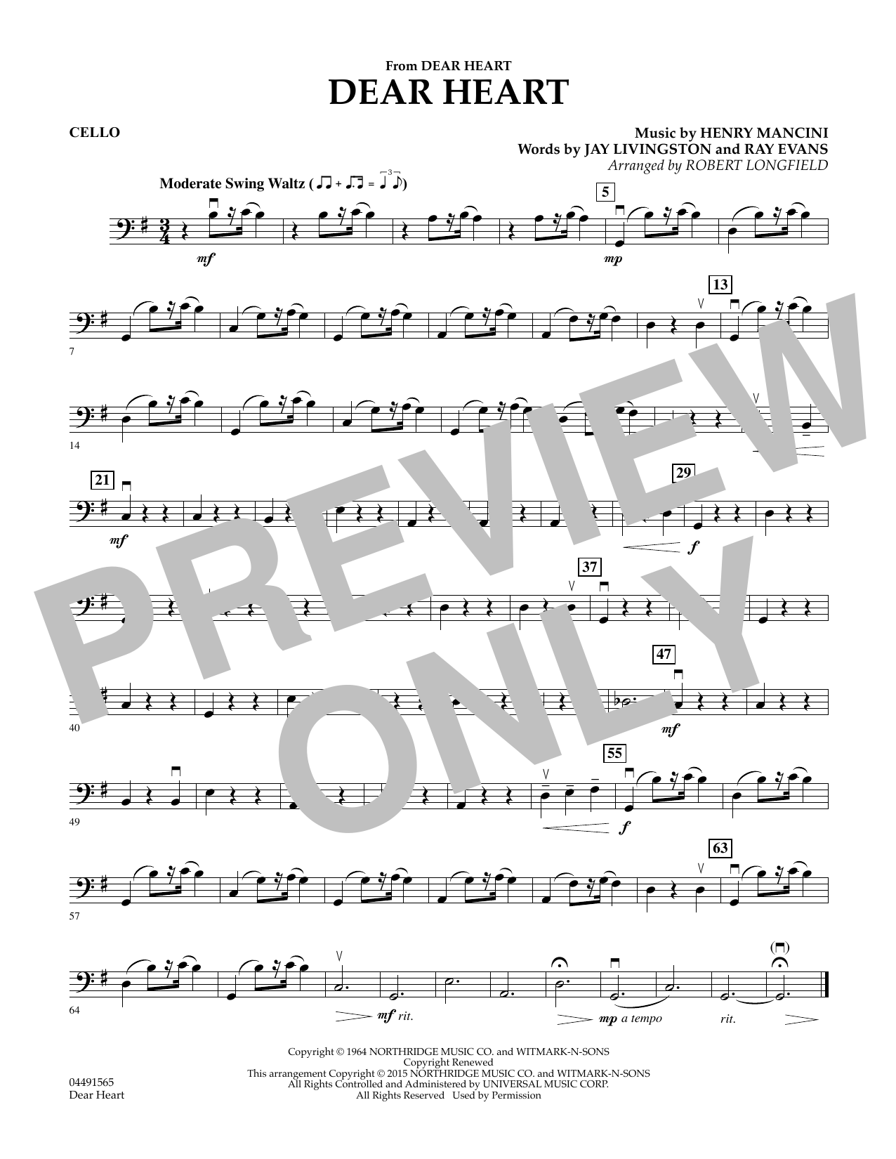 Robert Longfield Dear Heart - Cello sheet music preview music notes and score for String Quartet including 1 page(s)