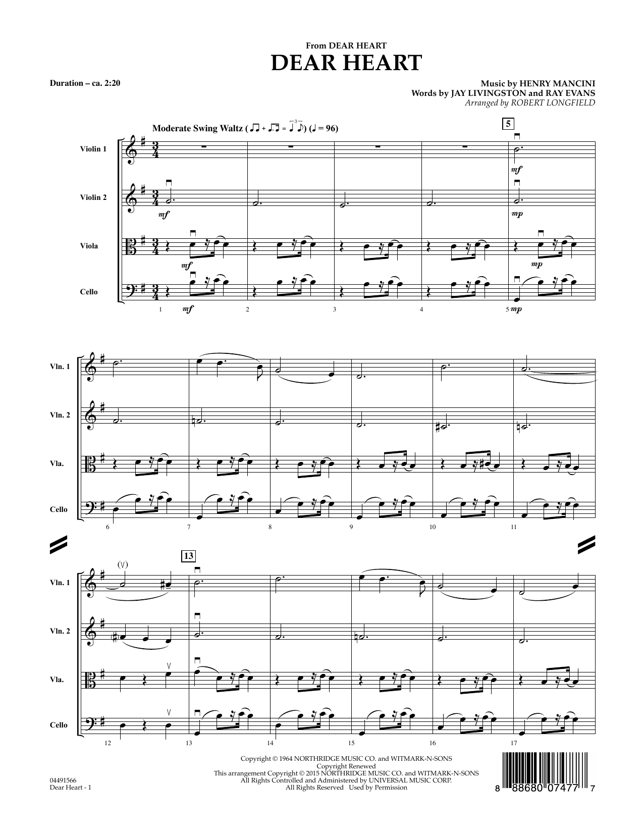 Robert Longfield Dear Heart - Conductor Score (Full Score) sheet music preview music notes and score for String Quartet including 4 page(s)