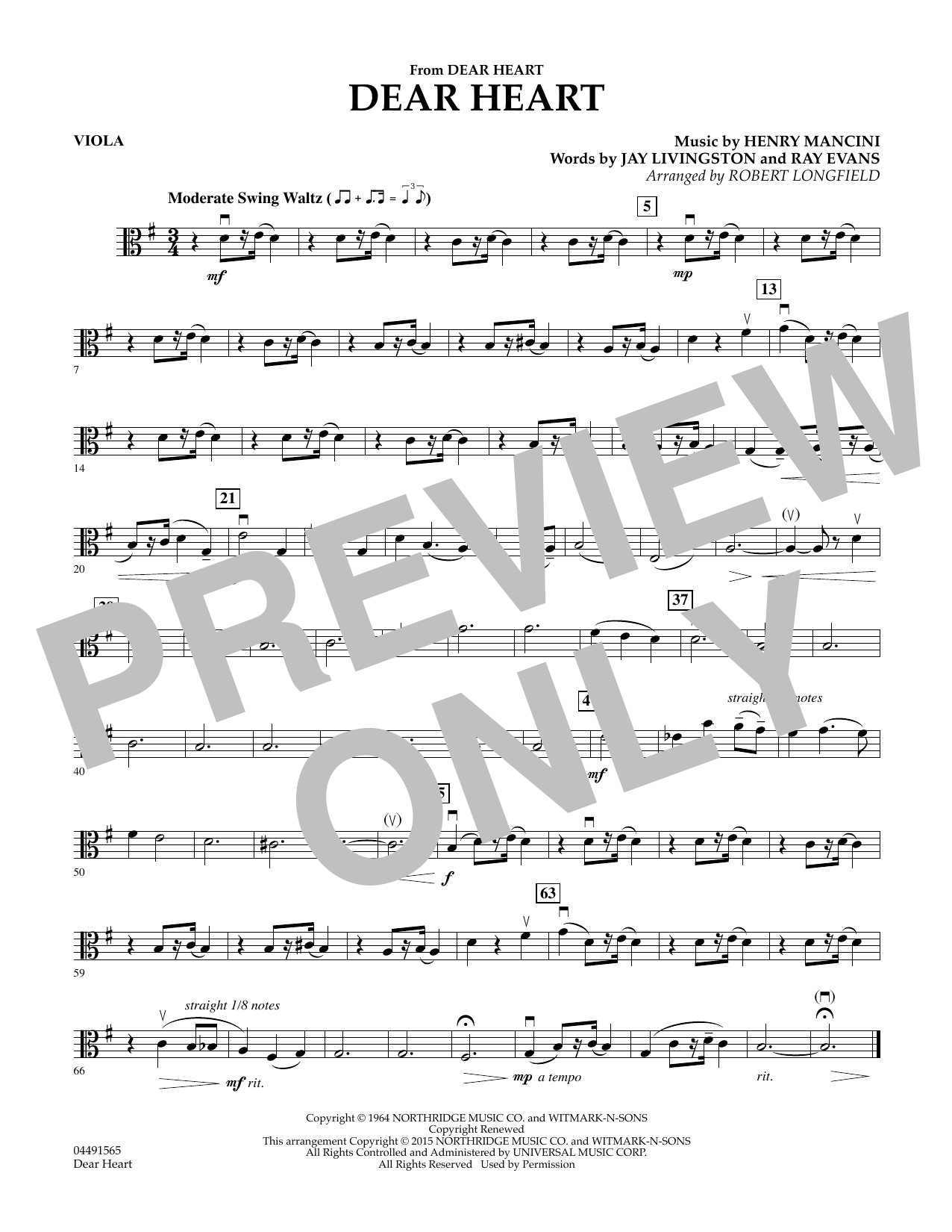 Robert Longfield Dear Heart - Viola sheet music preview music notes and score for String Quartet including 1 page(s)