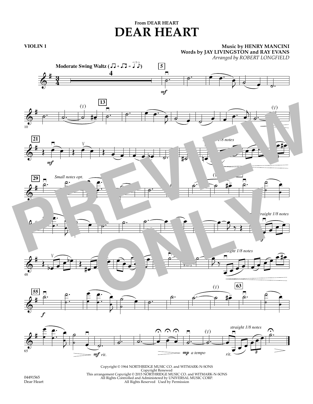 Robert Longfield Dear Heart - Violin 1 sheet music preview music notes and score for String Quartet including 1 page(s)