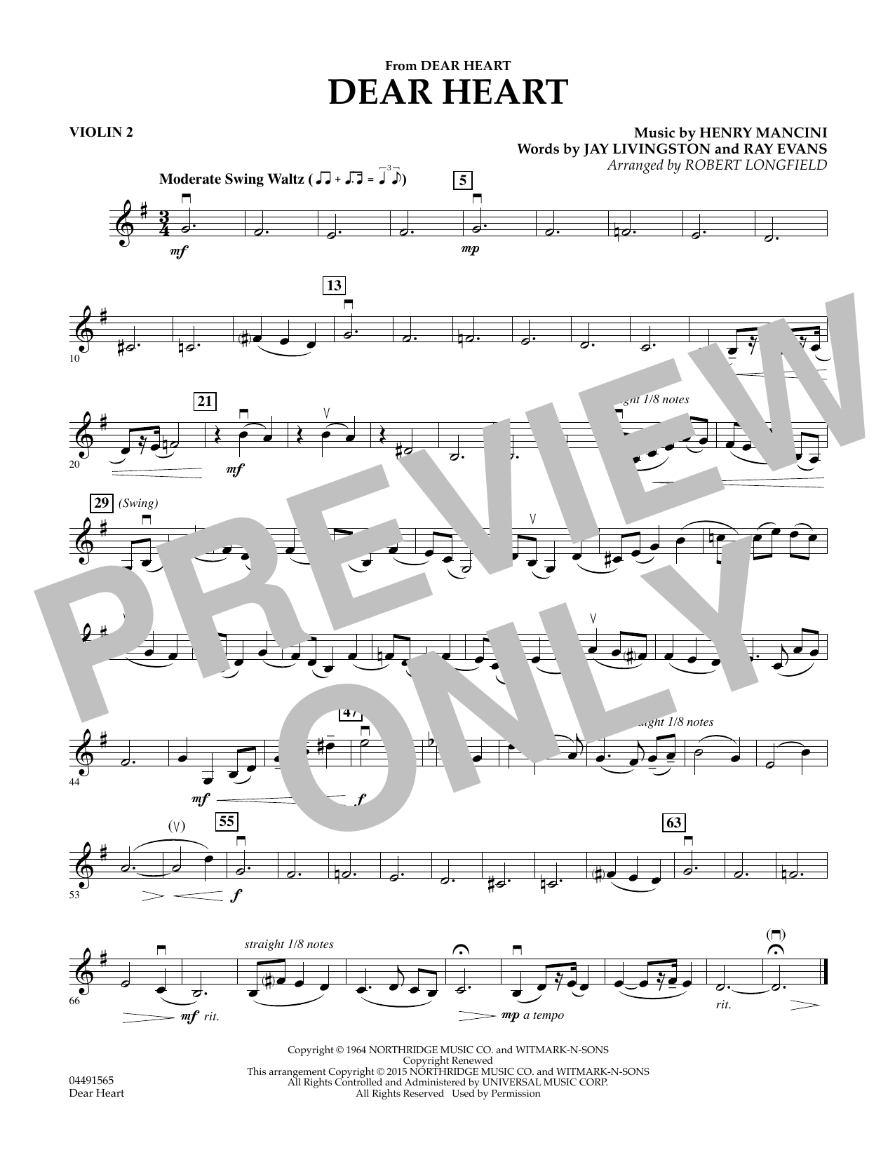 Robert Longfield Dear Heart - Violin 2 sheet music preview music notes and score for String Quartet including 1 page(s)