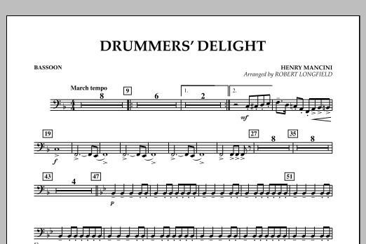 Robert Longfield Drummers' Delight - Bassoon sheet music notes and chords