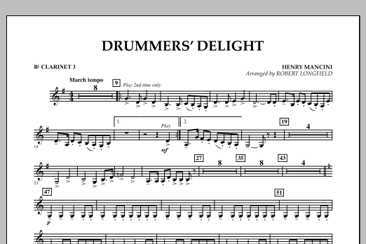Robert Longfield Drummers' Delight - Bb Clarinet 3 sheet music notes and chords