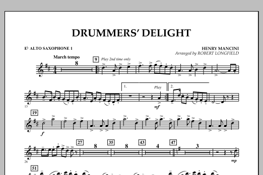 Robert Longfield Drummers' Delight - Eb Alto Saxophone 1 sheet music notes and chords