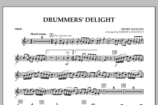 Robert Longfield Drummers' Delight - Oboe sheet music notes and chords