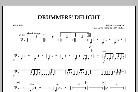 Robert Longfield Drummers' Delight - Timpani sheet music notes and chords