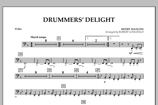 Robert Longfield Drummers' Delight - Tuba sheet music notes and chords